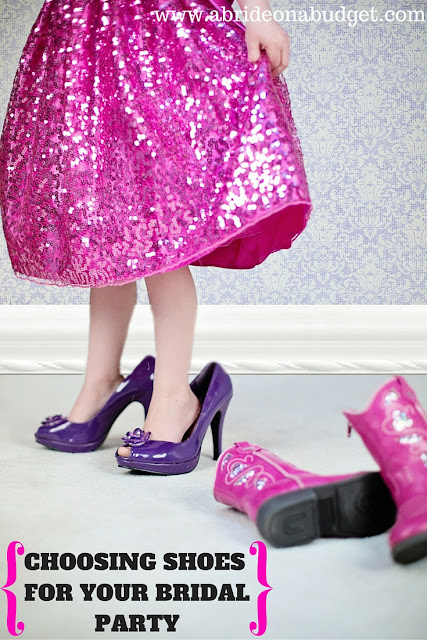 Are you having a hard time choosing shoes for your bridal party? There are three clear options: everyone wears the same, everyone wears what they want, and everyone wears the same color. Check out more details on www.abrideonabudget.com to help you make your choice.