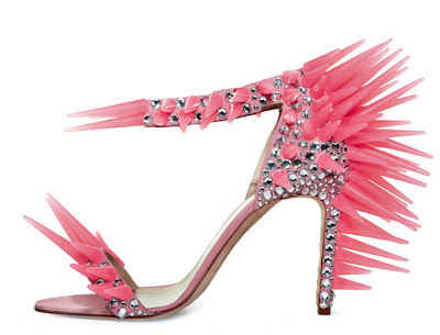 Max Kibardin pink spike and sparkle heels