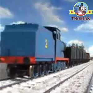 Thomas engine friends Edward the train keeping up with James train raced towards the coaling plant