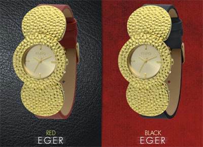 relógios Euro dorado pulseria de couro ecológico
