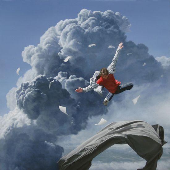 Joel Rea pintura hiper-realista surreal cães gigantes caindo céu Ascensão dos capturados