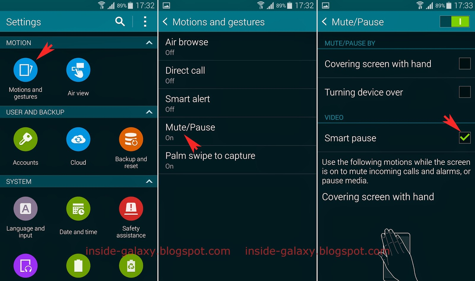 Samsung galaxy s5 how to enable and use smart pause in android how to enable or disable the smart pause feature generally there are two methods that can be used to enable or disable the smart pause feature from the biocorpaavc