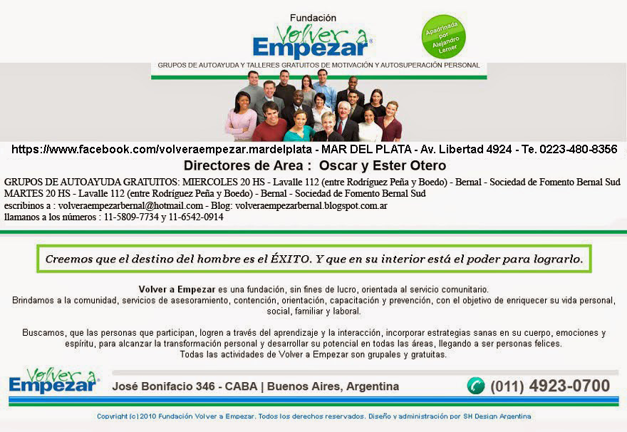 Grupos de Autoayuda Gratuitos Volver a Empezar Bernal