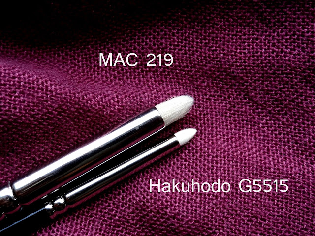 Hakuhodo G5515 Pointed Eye Shadow Brush Compared to MAC219