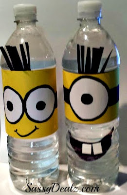 craft for kids making a despicable me minion water bottle cover