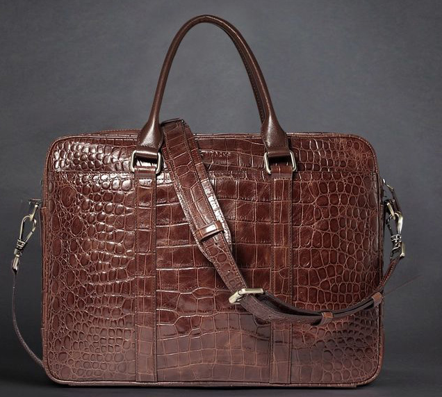 Top Choice: Stylish Crocodile Leather Diagonal Cross-Section Brown Bag
