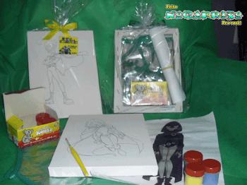 Kit de Pintura - Tela pintura com desenho personagem+avental+tinta guache+pincel+desenho colorido