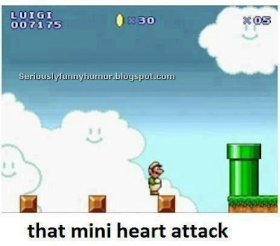 Super Mario - That Mini Heart Attack - standing on the edge of a brick