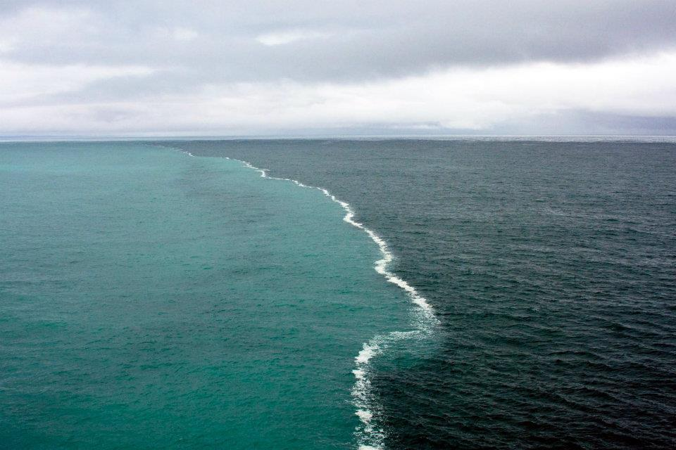 The place in gulf of alaska  where two oceans meet but do not mix