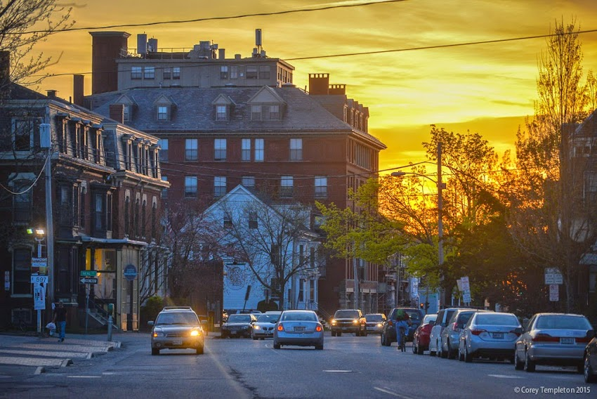 Portland, Maine May 2015 Congress Street at Carleton Street looking west at sunset photo by Corey Templeton.