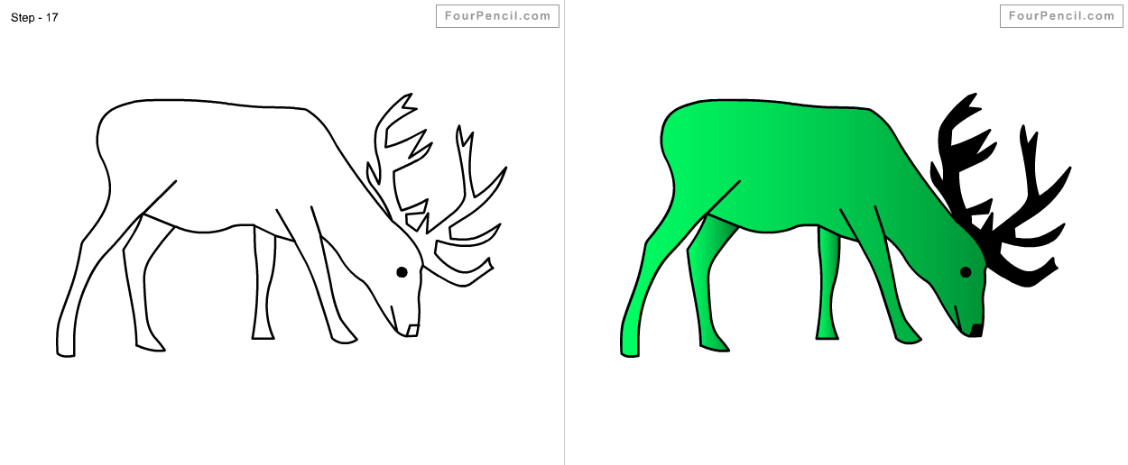 How To Draw Deer For Kids Step By Step on Antelope Coloring Pages