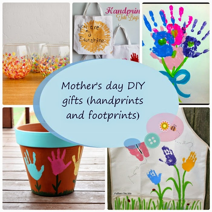 Mother's day DIY footprint and handprint gifts