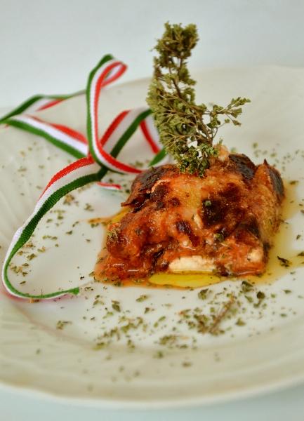 parmigiana di zucca con salsa di pomodoro, ricotta e philadeplhia