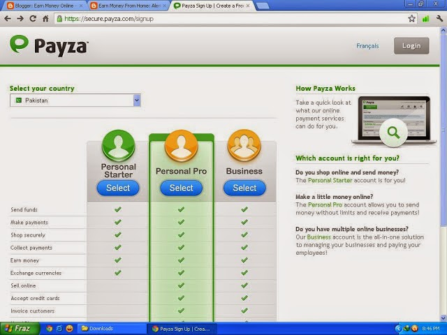 how to make payza account