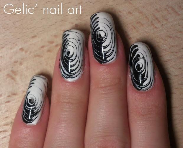 gelic' nail art black and white