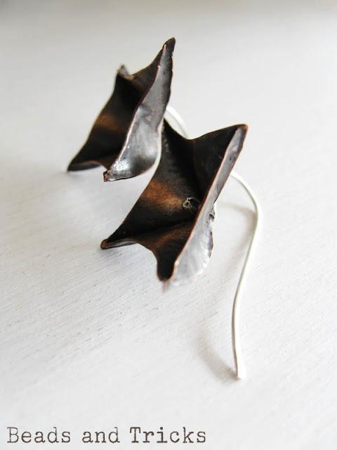 orecchini rame e argento foldforming