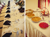 Split photo:  Table setting and collection of pies