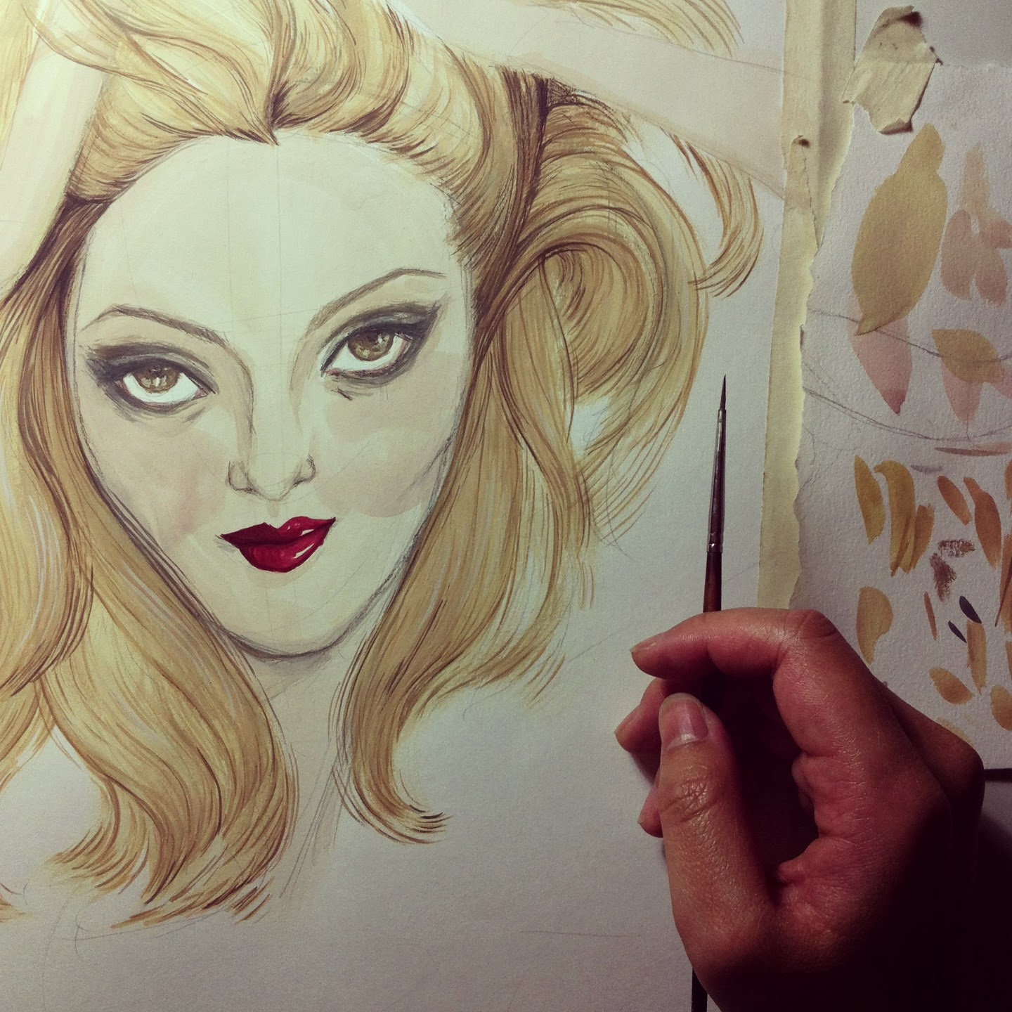 Kitty N. Wong / WIP Cat Marnell gouache painting