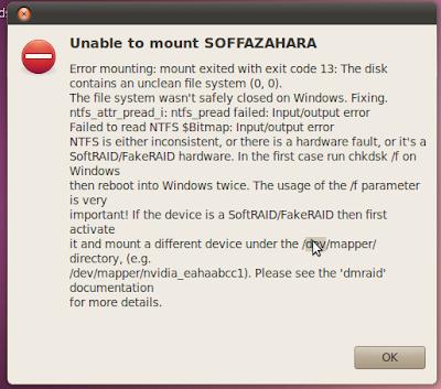 dan ketika dibuka di windows terdapat pesan bahwa hdd harus di format.