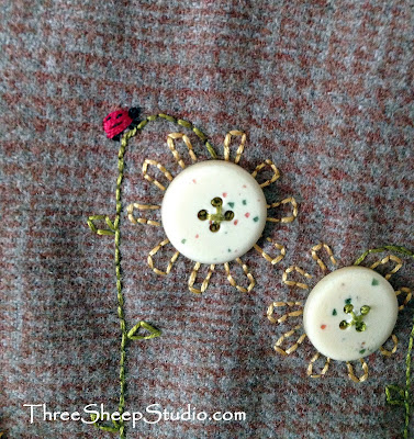 Hand Embroidered Bugs by Rose Clay at ThreeSheepStudio.com