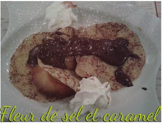 crêpe banane, pommes au chocolat