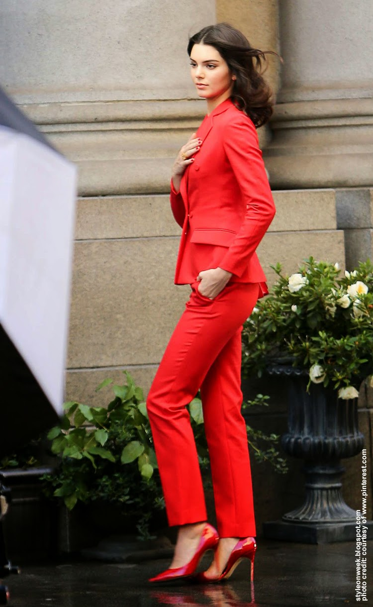 Kendall Jenner is Stunning In a Red Suit