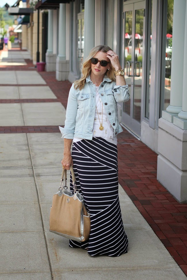 jcrew jean jacket, jcrew linen tee, loft maxi skirt, tory burch sandals