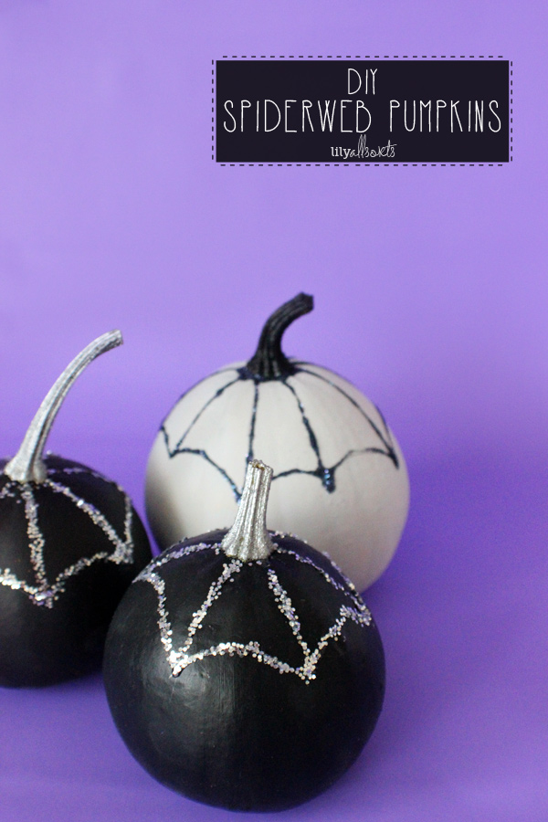 Glittered Spiderweb Pumpkins from Lily Allsorts | Halloween Favorites at www.andersonandgrant.com