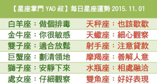 【星座掌門YAO叔】每日星座運勢2015.11.01