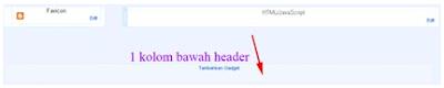 1 Kolom dibawah Header/ di Atas Postingan Blog