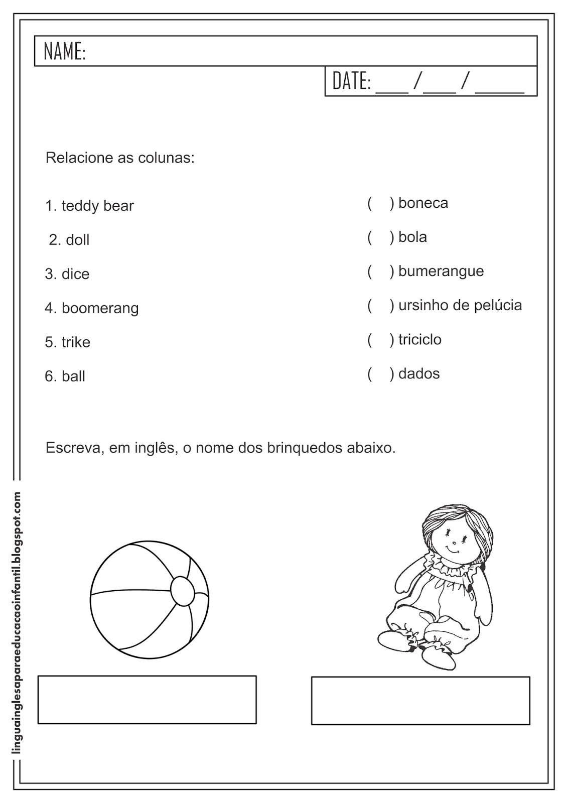 Atividade Educativa de Inglês - Vocabulário - Brinquedos