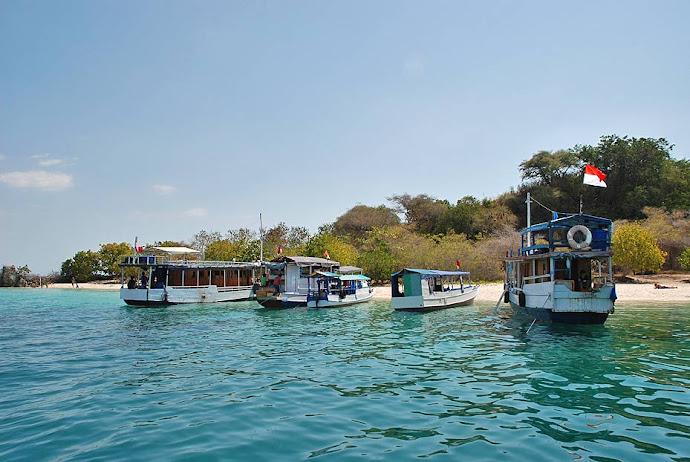 Barcos amarrados en una isla