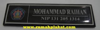 nama dada, name tag, pesan nama dada kuningan, 0812.3365.6355, www.rumahplakat.com
