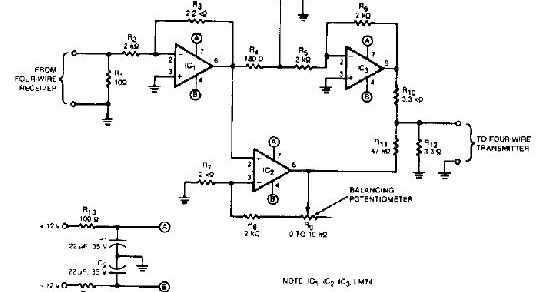 circuit diagram  how to build a 2 to 4 wire audio converter