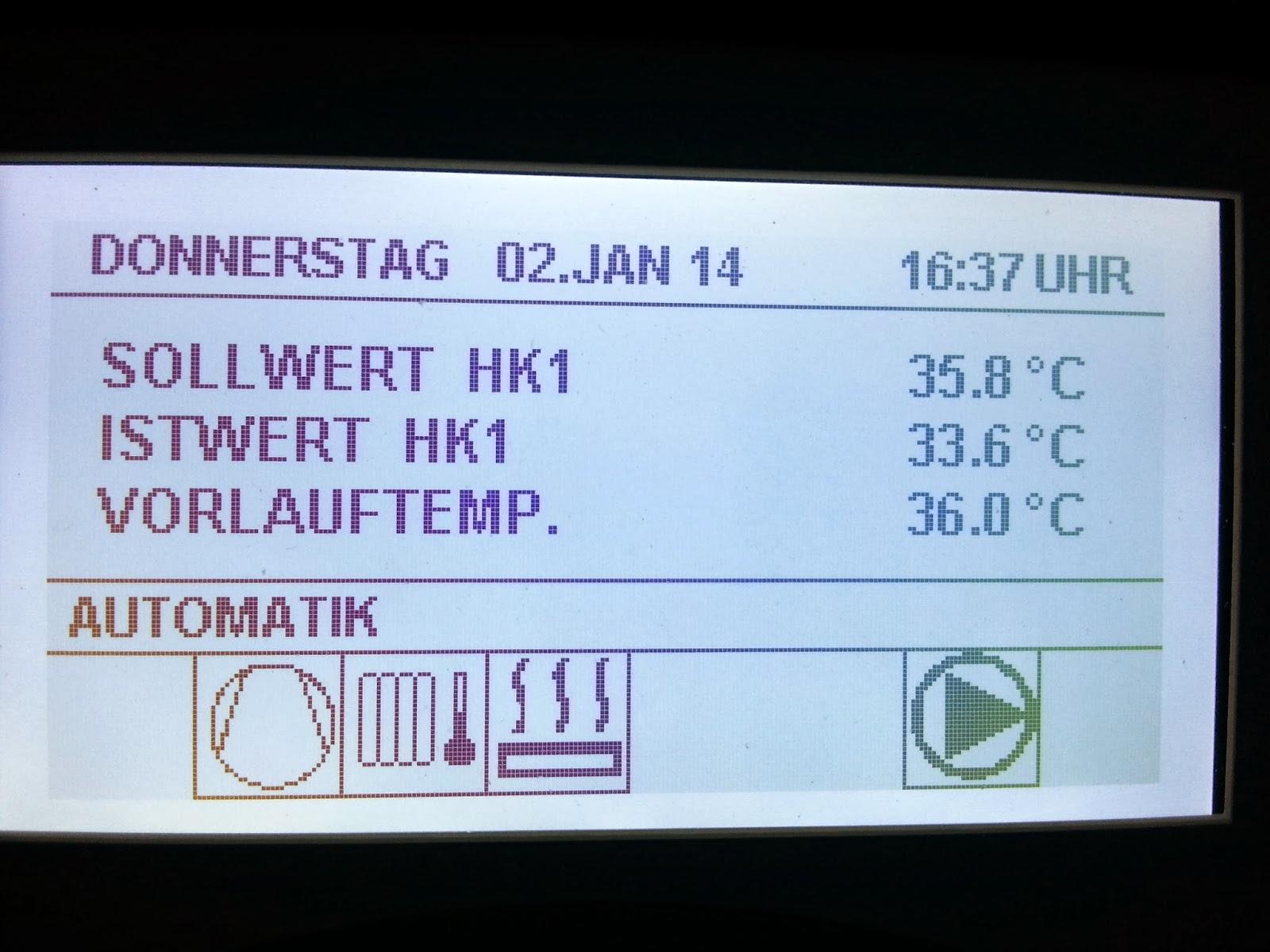 Die Heizung Wurde In Betrieb Genommen Und Durchläuft Seit Knapp 2 Wochen  Das Estrich Heizprogramm. Aktuell Mit Einer Vorlauftemperatur Von 36 Grad,  ...