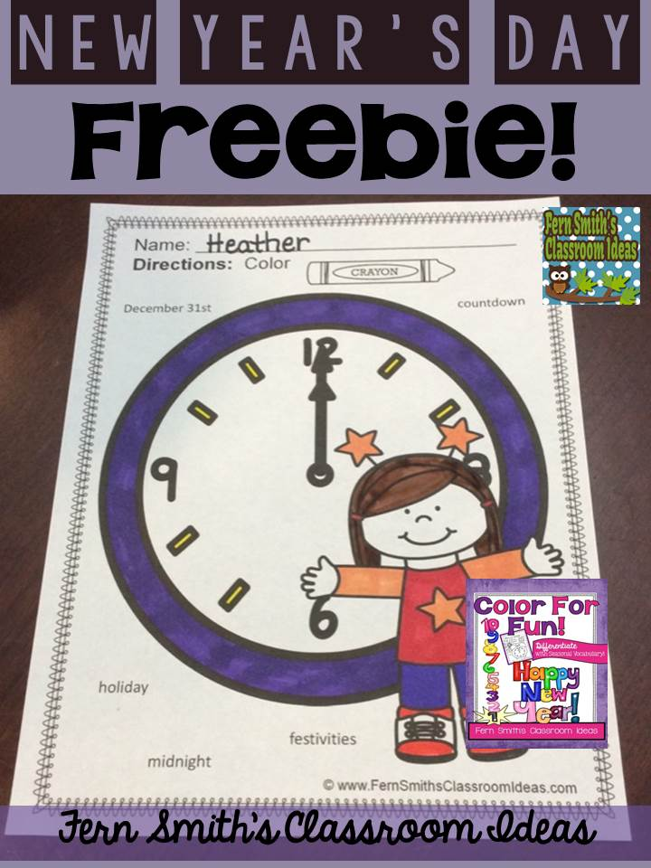 Fern Smith's Classroom Ideas New Year's Day Freebie in the Free Preview of New Year Fun with Seasonal Vocabulary! Color For Fun Printable Coloring Pages