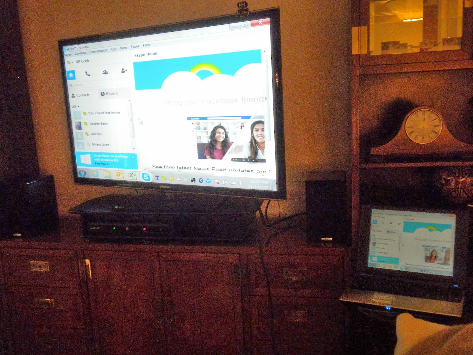 Heres A Shot Of The Setup Laptop On Right Big Screen Projection Left