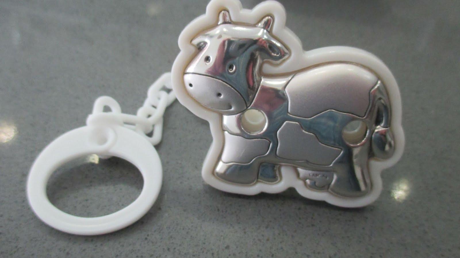 Chupetero de plata con forma de vaca