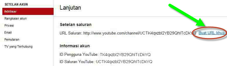 Cara Mengubah URL  Channel youtube