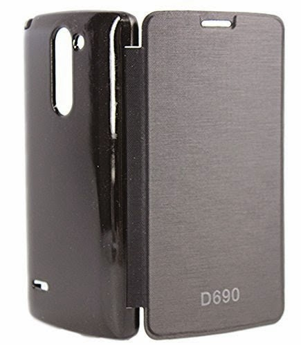 Mobicom Hard Back Flip Book Cover Case for LG G3 Stylus D690 (Black)