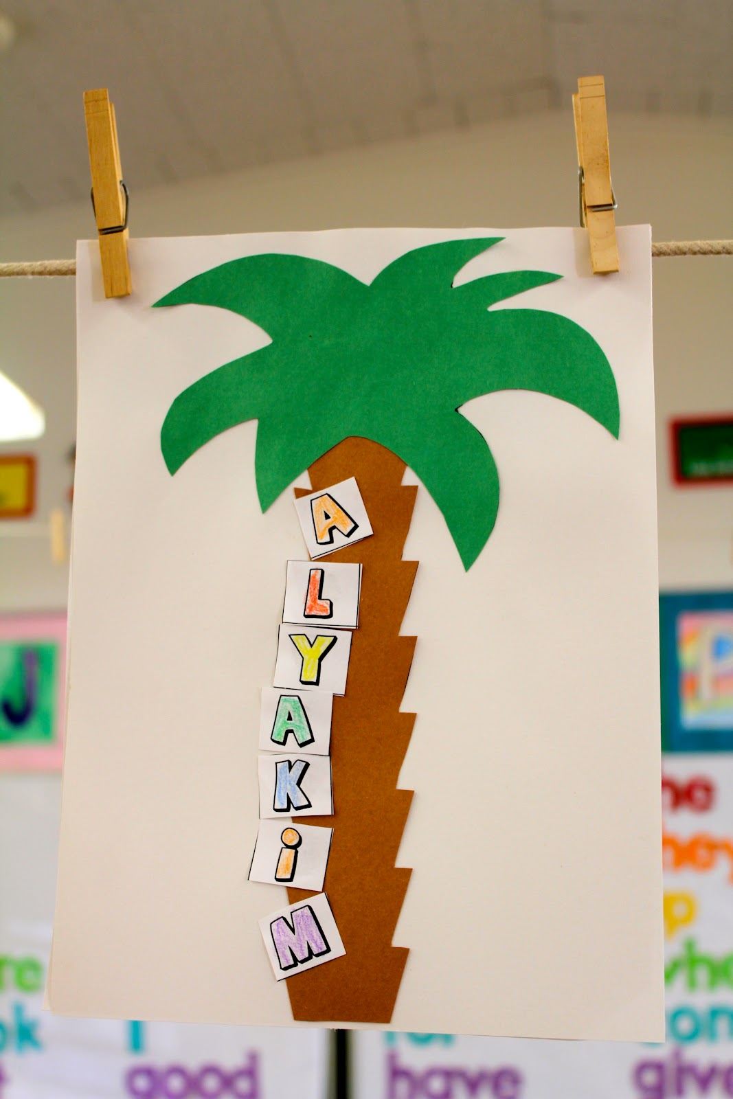 Mrs fullmers kinders beginning of the year art projects we also read chick chick boom boom and then the students use the letters in their names to climb up the coconut tree you can download the template here maxwellsz