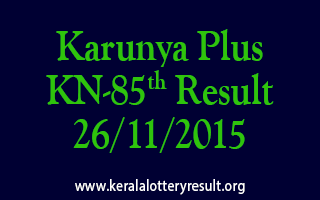 Karunya Plus KN 85 Lottery Result 26-11-2015
