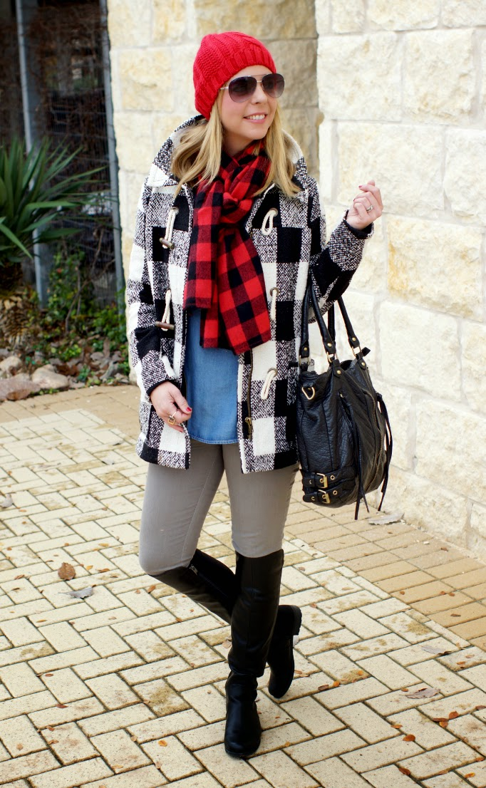 red and black buffalo check plaid scarf