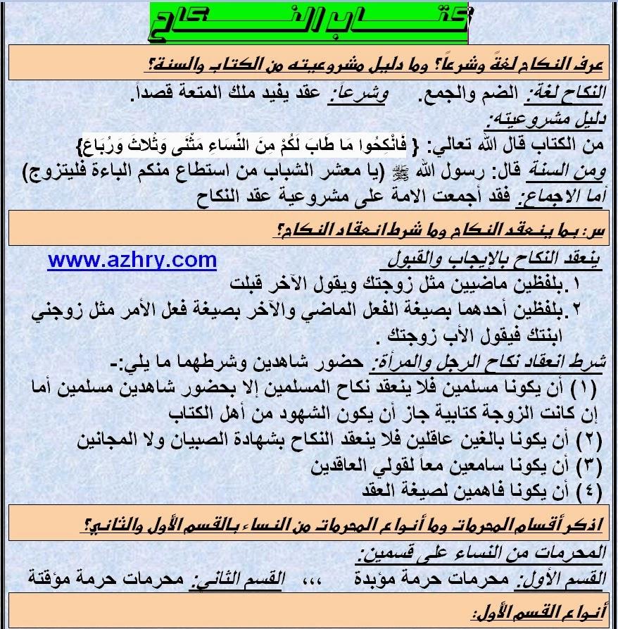 مذكرة فقه حنفي للصف الثاني الاعدادي ترم ثان منهج جديد 2015