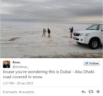 Tanah Arab Kini Dilanda Salji