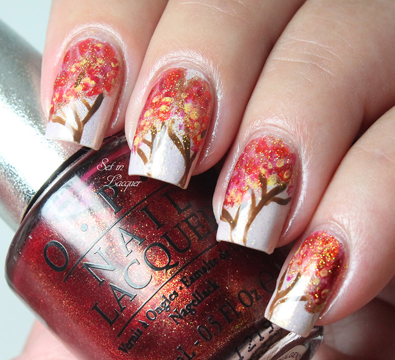 Autumn tree nail art