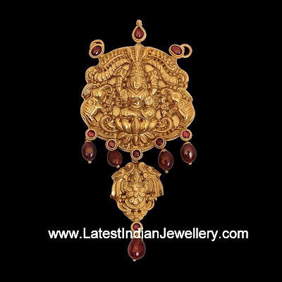 Temple Jewellery Pendant Ruby Drops