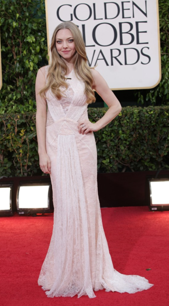 Golden Globes 2013 Amanda Seyfried best dressed red carpet LUA luv u always leggings