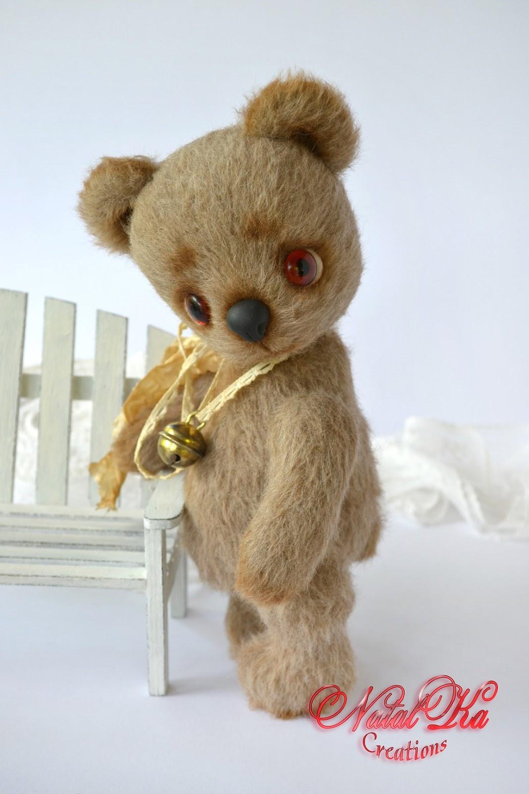 Künstlerbär Teddybär Teddy Unikat handgemacht handgefertigt von NatalKa Creations. Artist teddy bear OOAK handmade by NatalKa Creations