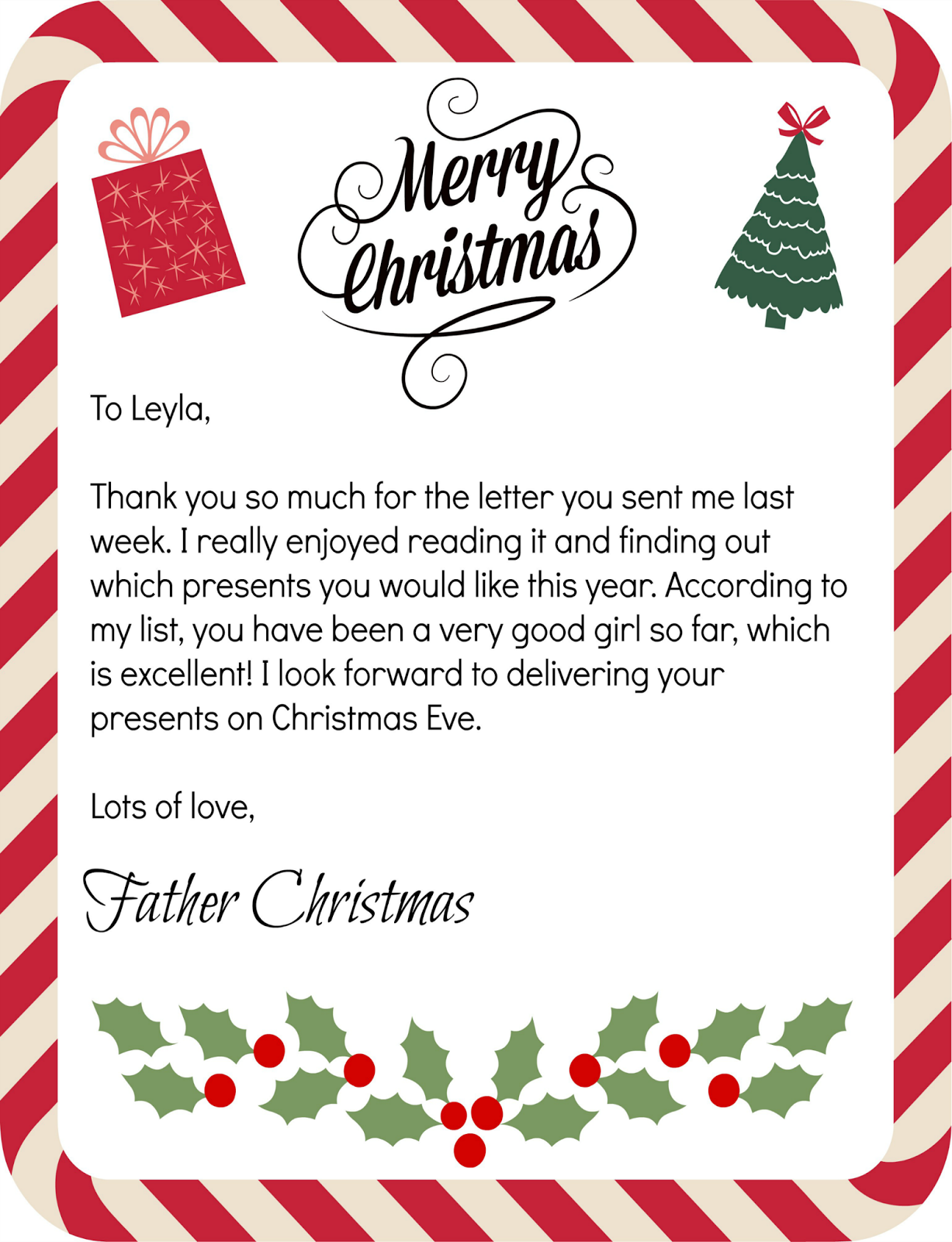 Mammy made 24 days to christmas countdown father christmas i decided to write a letter back to each of them from father christmas telling them that they have been very good and that he is looking forward to spiritdancerdesigns Gallery